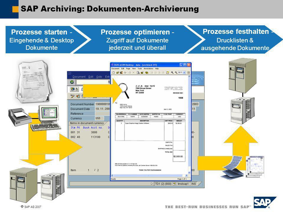  SAP AG 2007 SAP Archiving: Dokumenten-Archivierung Prozesse starten - Eingehende & Desktop Dokumente Prozesse optimieren - Zugriff auf Dokumente jed