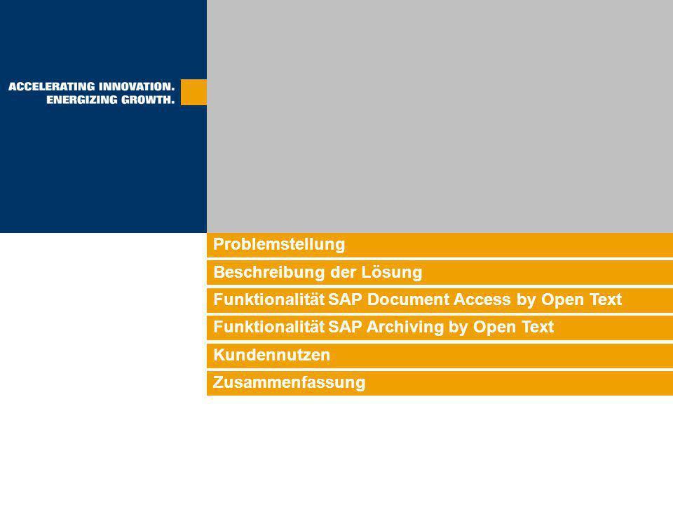 Problemstellung Beschreibung der Lösung Funktionalität SAP Document Access by Open Text Funktionalität SAP Archiving by Open Text Kundennutzen Zusamme