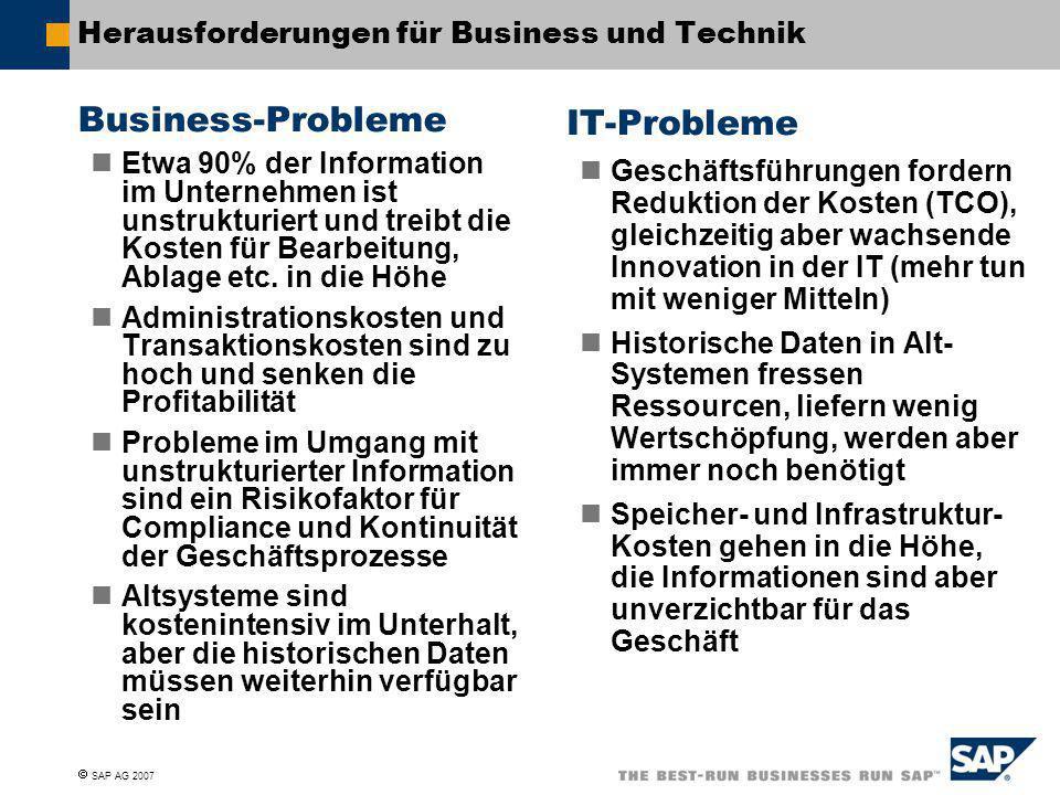  SAP AG 2007 Herausforderungen für Business und Technik Business-Probleme Etwa 90% der Information im Unternehmen ist unstrukturiert und treibt die K