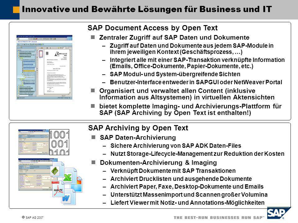  SAP AG 2007 Innovative und Bewährte Lösungen für Business und IT SAP Archiving by Open Text SAP Daten-Archivierung –Sichere Archivierung von SAP ADK