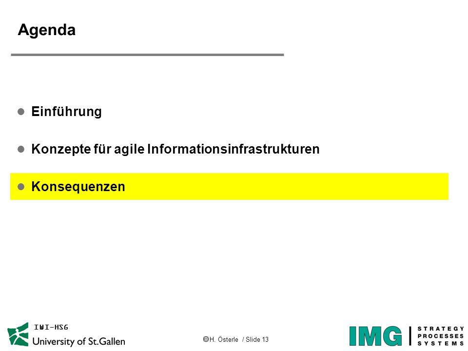  H. Österle / Slide 13 IWI-HSG Agenda l Einführung l Konzepte für agile Informationsinfrastrukturen l Konsequenzen