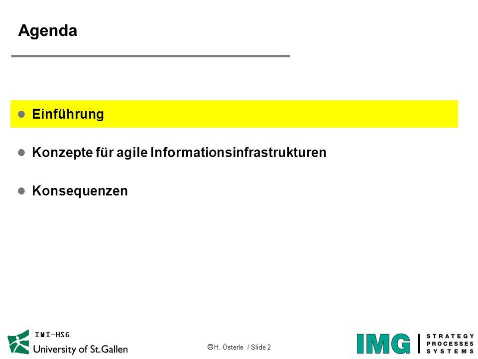  H. Österle / Slide 2 IWI-HSG Agenda l Einführung l Konzepte für agile Informationsinfrastrukturen l Konsequenzen