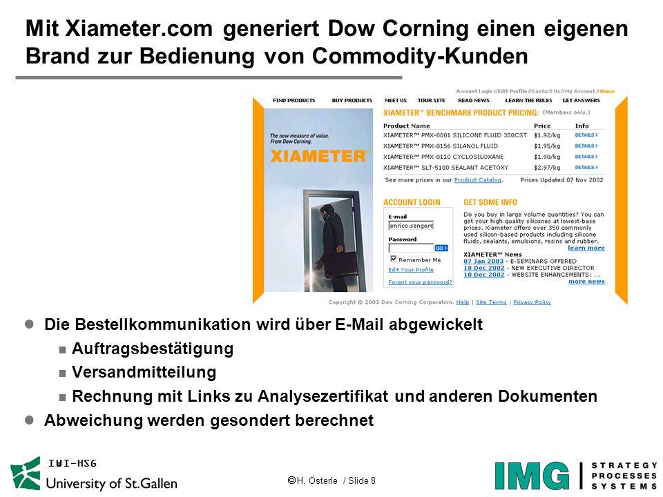  H. Österle / Slide 8 IWI-HSG Mit Xiameter.com generiert Dow Corning einen eigenen Brand zur Bedienung von Commodity-Kunden l Die Bestellkommunikatio