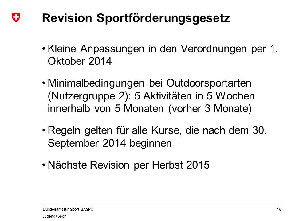 18 Bundesamt für Sport BASPO Jugend+Sport Revision Sportförderungsgesetz Kleine Anpassungen in den Verordnungen per 1. Oktober 2014 Minimalbedingungen
