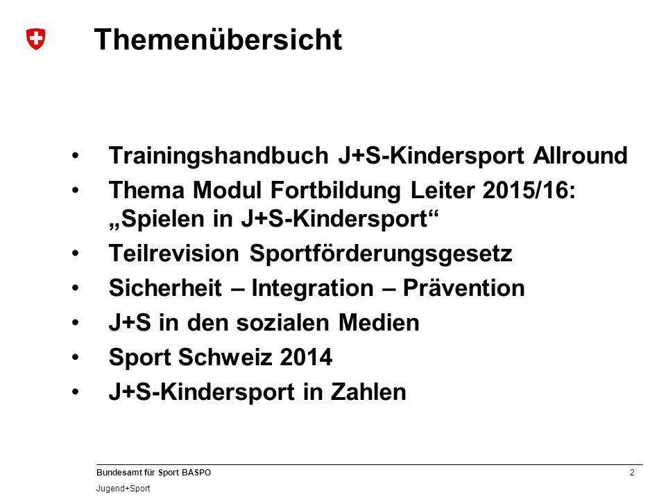 """2 Bundesamt für Sport BASPO Jugend+Sport Themenübersicht Trainingshandbuch J+S-Kindersport Allround Thema Modul Fortbildung Leiter 2015/16: """"Spielen i"""