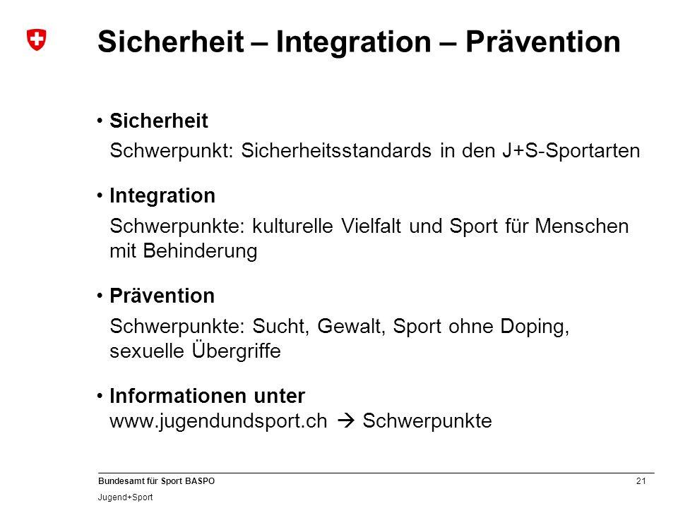 21 Bundesamt für Sport BASPO Jugend+Sport Sicherheit – Integration – Prävention Sicherheit Schwerpunkt: Sicherheitsstandards in den J+S-Sportarten Int