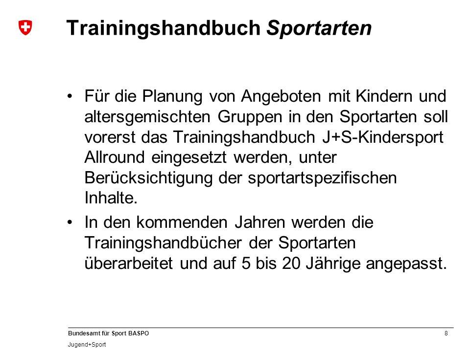 8 Bundesamt für Sport BASPO Jugend+Sport Trainingshandbuch Sportarten Für die Planung von Angeboten mit Kindern und altersgemischten Gruppen in den Sp
