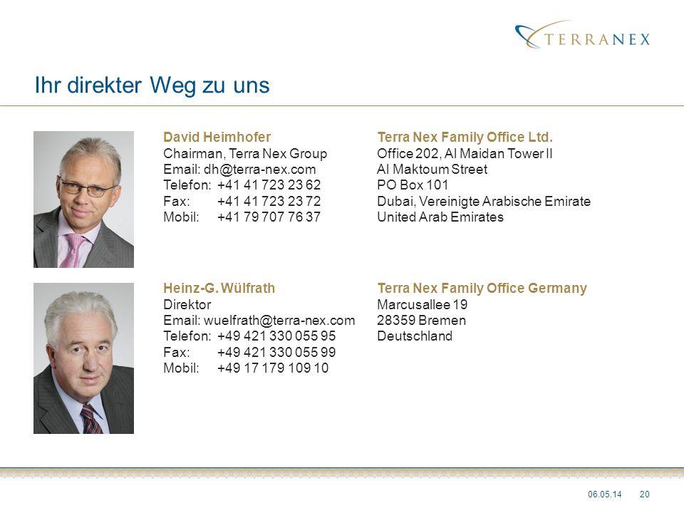 Ihr direkter Weg zu uns 2006.05.14 David Heimhofer Chairman, Terra Nex Group Email: dh@terra-nex.com Telefon:+41 41 723 23 62 Fax: +41 41 723 23 72 Mo