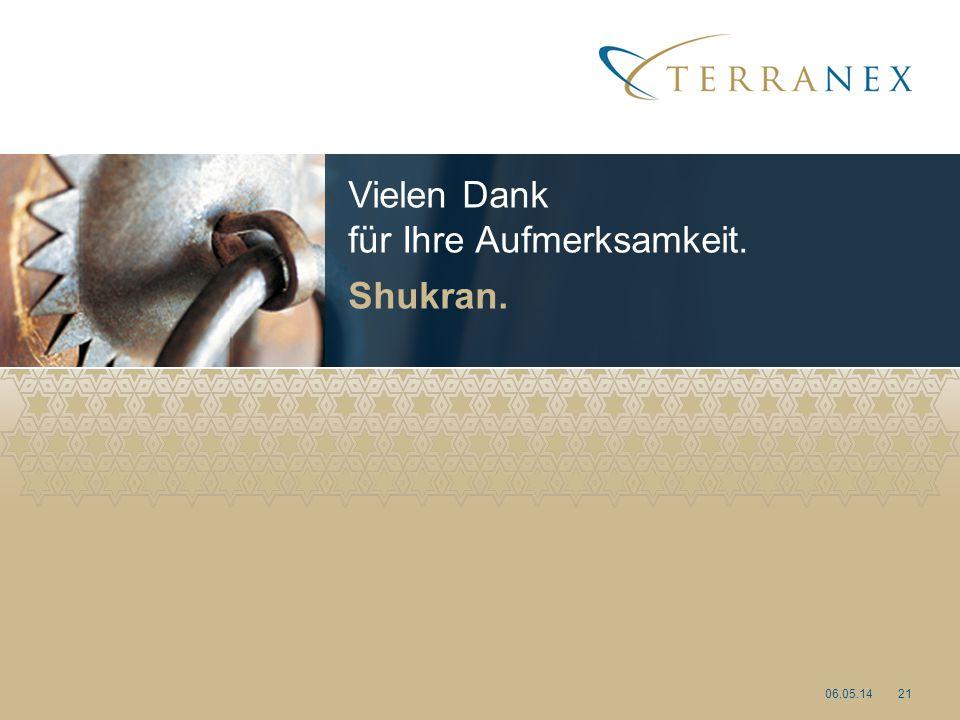 Vielen Dank für Ihre Aufmerksamkeit. Shukran. 06.05.1421