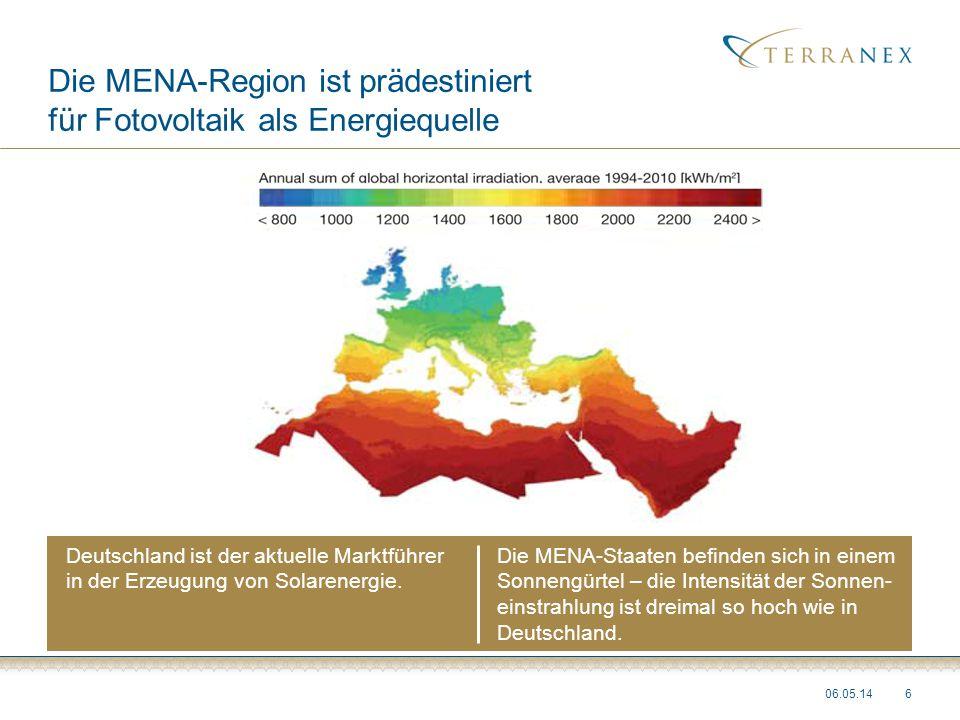 Die MENA-Region ist prädestiniert für Fotovoltaik als Energiequelle 06.05.146 Deutschland ist der aktuelle Marktführer in der Erzeugung von Solarenerg