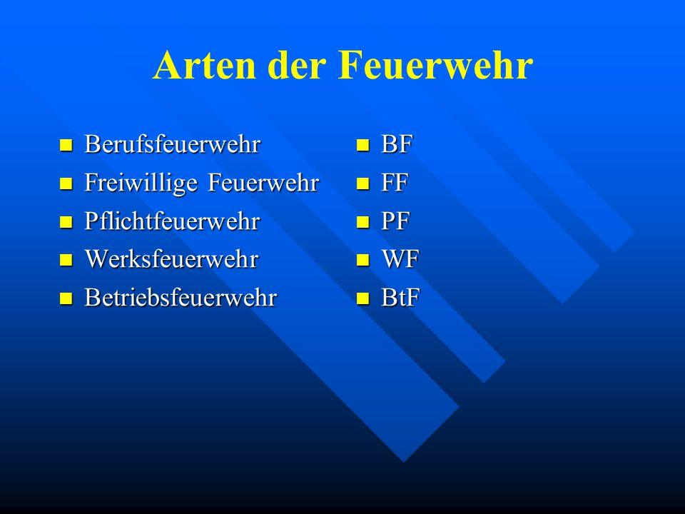 Arten der Feuerwehr Berufsfeuerwehr Berufsfeuerwehr Freiwillige Feuerwehr Freiwillige Feuerwehr Pflichtfeuerwehr Pflichtfeuerwehr Werksfeuerwehr Werksfeuerwehr Betriebsfeuerwehr Betriebsfeuerwehr BF FF PF WF BtF