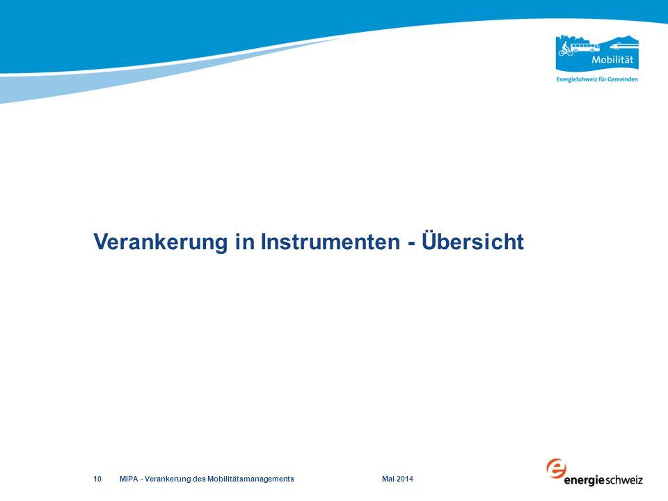 Verankerung in Instrumenten - Übersicht MIPA - Verankerung des Mobilitätsmanagements Mai 2014 10