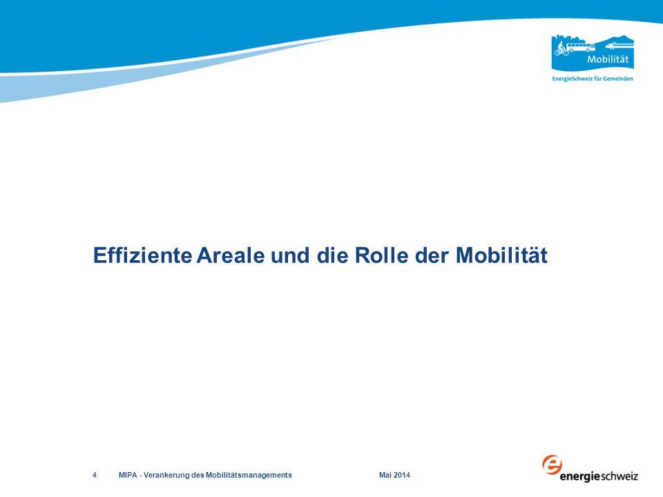  Mobilität – unverzichtbar im Areal  Abstimmung von Siedlung und Verkehr  Verkehrsaufkommen steuern und lenken  Nutzung der öffentlichen Verkehrsmittel, des Velos sowie das Zu-Fuss-Gehen fördern  Negative Auswirkungen des Verkehrs minimieren Die Rolle der Mobilität MIPA - Verankerung des Mobilitätsmanagements Mai 2014 5