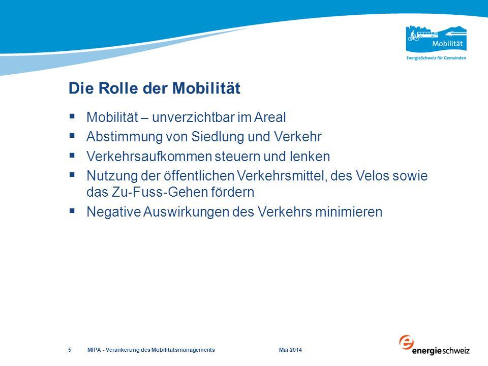 Studienauftrag / Wettbewerb – Standard (2/2) MIPA - Verankerung des Mobilitätsmanagements Mai 2014 16 Quelle: MIPA-Handbuch «Verankerung des Mobilitätsmanagements» Parallel zur autoreduzierten Nutzung sind hervorragende Voraussetzungen sowohl für den öffentlichen Verkehr als auch für den Fuss- und Veloverkehr zu schaffen.