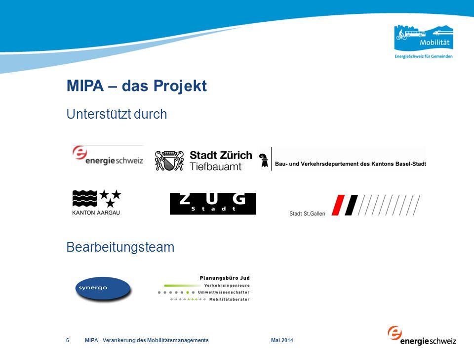 Ziele  Mobilitätskonzept grundeigentümerverbindlich absichern  Zu bearbeitende Inhalte definieren Empfohlene Behandlung  In verkehrlich sensiblen Gebieten  Bei hohem, durch das Projekt ausgelöstem Verkehrs- aufkommen Sondernutzungsplanung MIPA - Verankerung des Mobilitätsmanagements Mai 2014 17