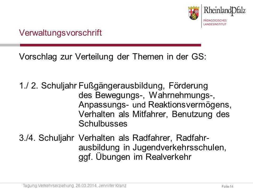 Folie 14 Verwaltungsvorschrift Vorschlag zur Verteilung der Themen in der GS: 1./ 2. SchuljahrFußgängerausbildung, Förderung des Bewegungs-, Wahrnehmu