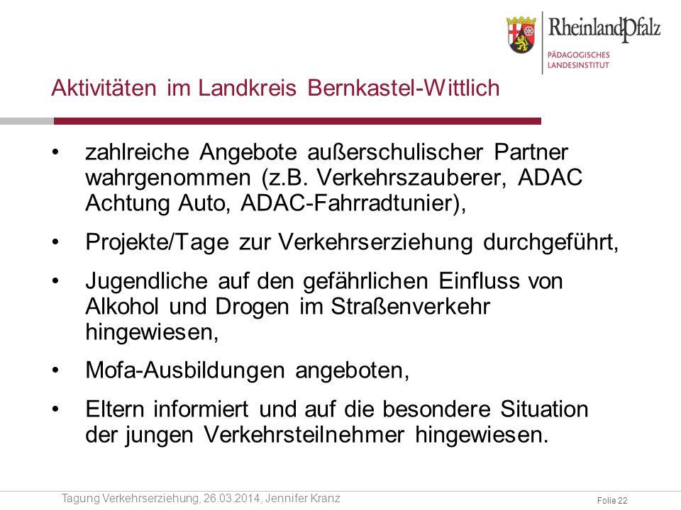 Folie 22 Aktivitäten im Landkreis Bernkastel-Wittlich zahlreiche Angebote außerschulischer Partner wahrgenommen (z.B. Verkehrszauberer, ADAC Achtung A