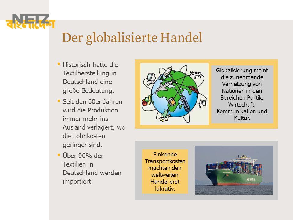 Der globalisierte Handel Globalisierung meint die zunehmende Vernetzung von Nationen in den Bereichen Politik, Wirtschaft, Kommunikation und Kultur. 