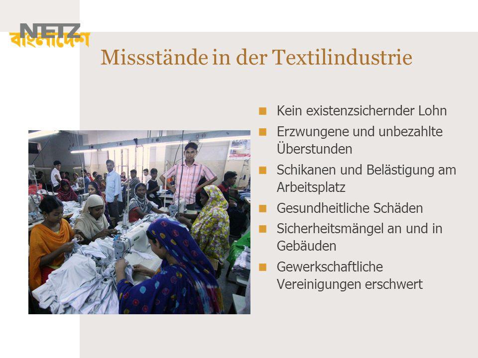 Missstände in der Textilindustrie Kein existenzsichernder Lohn Erzwungene und unbezahlte Überstunden Schikanen und Belästigung am Arbeitsplatz Gesundh