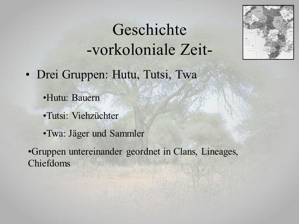 Geschichte -vorkoloniale Zeit- Drei Gruppen: Hutu, Tutsi, Twa Hutu: Bauern Tutsi: Viehzüchter Twa: Jäger und Sammler Gruppen untereinander geordnet in