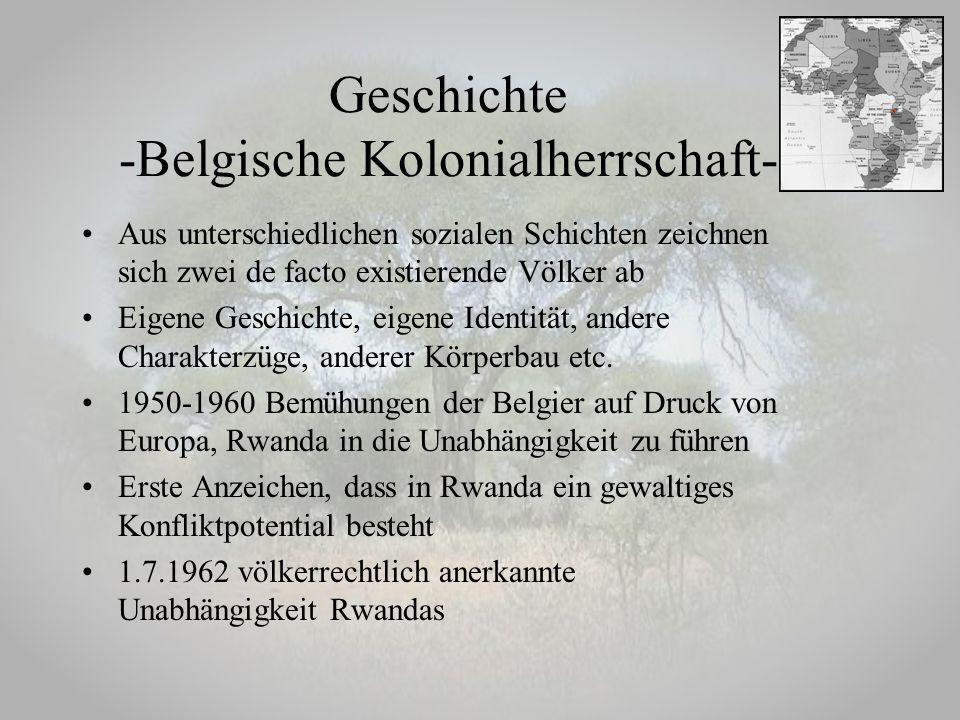 Geschichte -Belgische Kolonialherrschaft- Aus unterschiedlichen sozialen Schichten zeichnen sich zwei de facto existierende Völker ab Eigene Geschicht