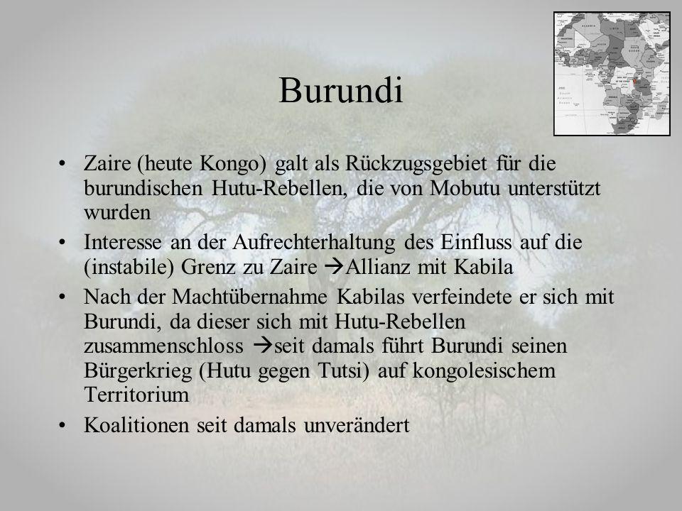 Burundi Zaire (heute Kongo) galt als Rückzugsgebiet für die burundischen Hutu-Rebellen, die von Mobutu unterstützt wurden Interesse an der Aufrechterh