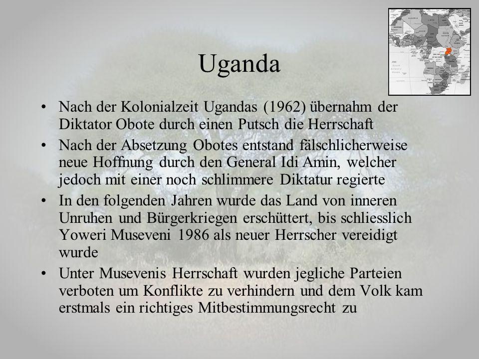 Nach der Kolonialzeit Ugandas (1962) übernahm der Diktator Obote durch einen Putsch die Herrschaft Nach der Absetzung Obotes entstand fälschlicherweis