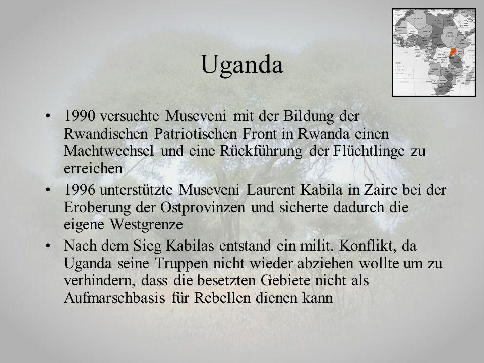 Uganda 1990 versuchte Museveni mit der Bildung der Rwandischen Patriotischen Front in Rwanda einen Machtwechsel und eine Rückführung der Flüchtlinge z