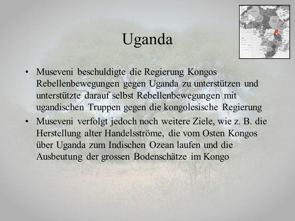 Museveni beschuldigte die Regierung Kongos Rebellenbewegungen gegen Uganda zu unterstützen und unterstützte darauf selbst Rebellenbewegungen mit ugand