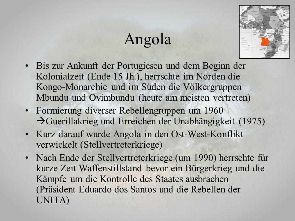 Bis zur Ankunft der Portugiesen und dem Beginn der Kolonialzeit (Ende 15 Jh.), herrschte im Norden die Kongo-Monarchie und im Süden die Völkergruppen