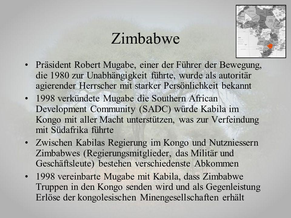 Präsident Robert Mugabe, einer der Führer der Bewegung, die 1980 zur Unabhängigkeit führte, wurde als autoritär agierender Herrscher mit starker Persö