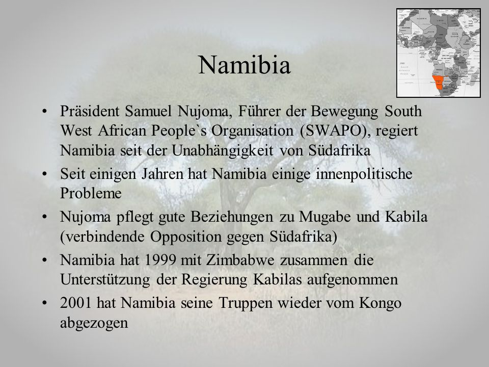 Präsident Samuel Nujoma, Führer der Bewegung South West African People`s Organisation (SWAPO), regiert Namibia seit der Unabhängigkeit von Südafrika S