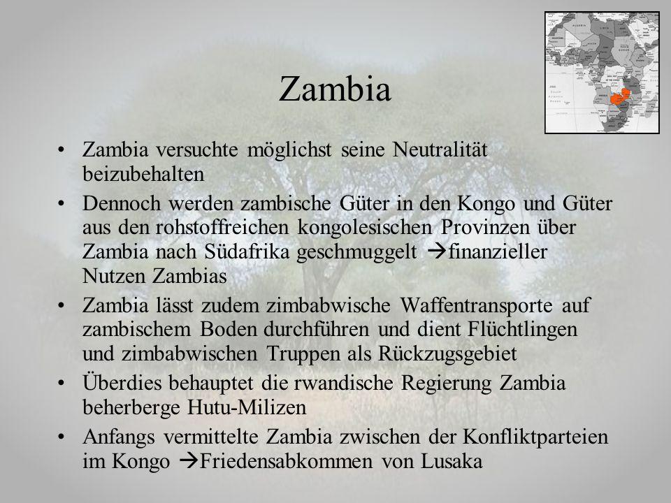 Zambia versuchte möglichst seine Neutralität beizubehalten Dennoch werden zambische Güter in den Kongo und Güter aus den rohstoffreichen kongolesische