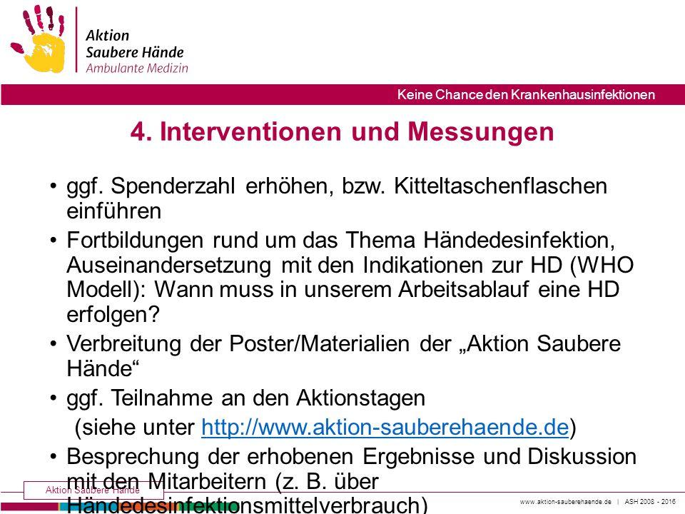 www.aktion-sauberehaende.de | ASH 2008 - 2016 Aktion Saubere Hände Keine Chance den Krankenhausinfektionen ggf. Spenderzahl erhöhen, bzw. Kitteltasche