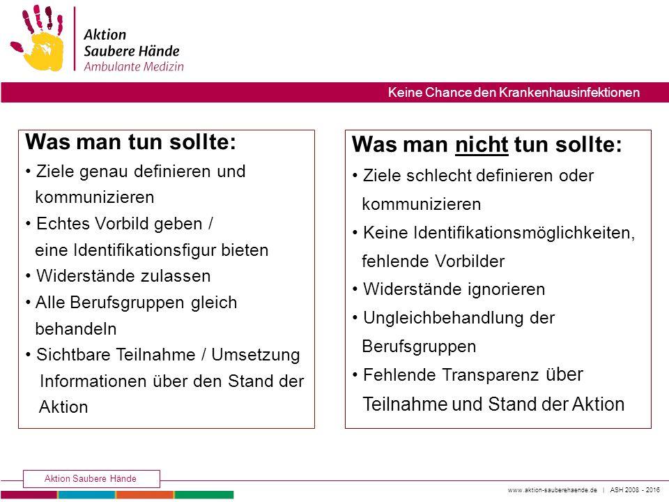 www.aktion-sauberehaende.de | ASH 2008 - 2016 Aktion Saubere Hände Keine Chance den Krankenhausinfektionen Was man tun sollte: Ziele genau definieren