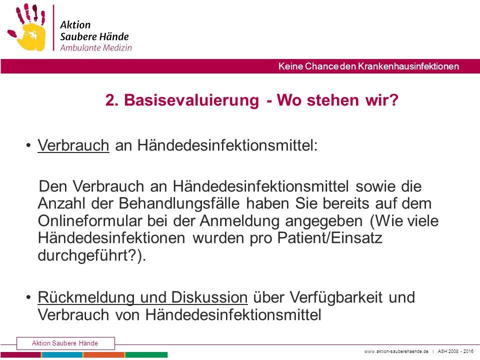 www.aktion-sauberehaende.de | ASH 2008 - 2016 Aktion Saubere Hände Keine Chance den Krankenhausinfektionen 2. Basisevaluierung - Wo stehen wir? Verbra