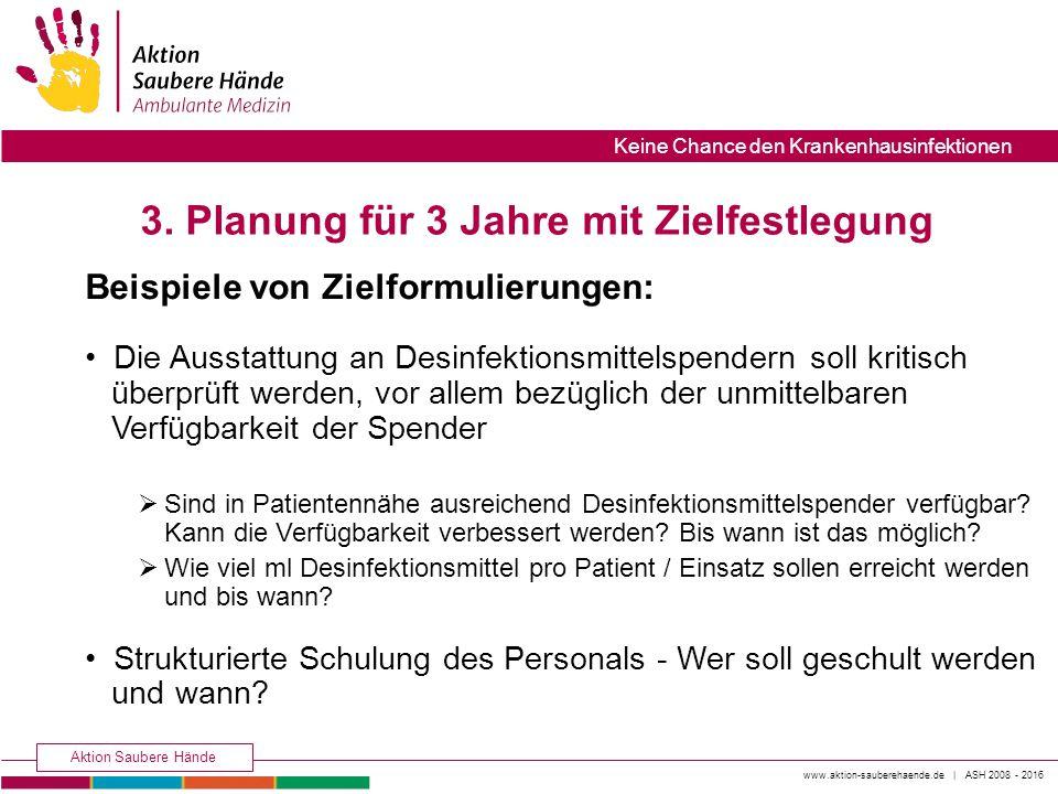 www.aktion-sauberehaende.de | ASH 2008 - 2016 Aktion Saubere Hände Keine Chance den Krankenhausinfektionen 3. Planung für 3 Jahre mit Zielfestlegung B