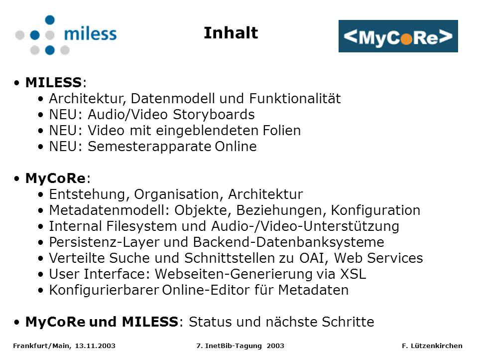 Frankfurt/Main, 13.11.2003 7. InetBib-Tagung 2003 F. Lützenkirchen MILESS: Architektur, Datenmodell und Funktionalität NEU: Audio/Video Storyboards NE