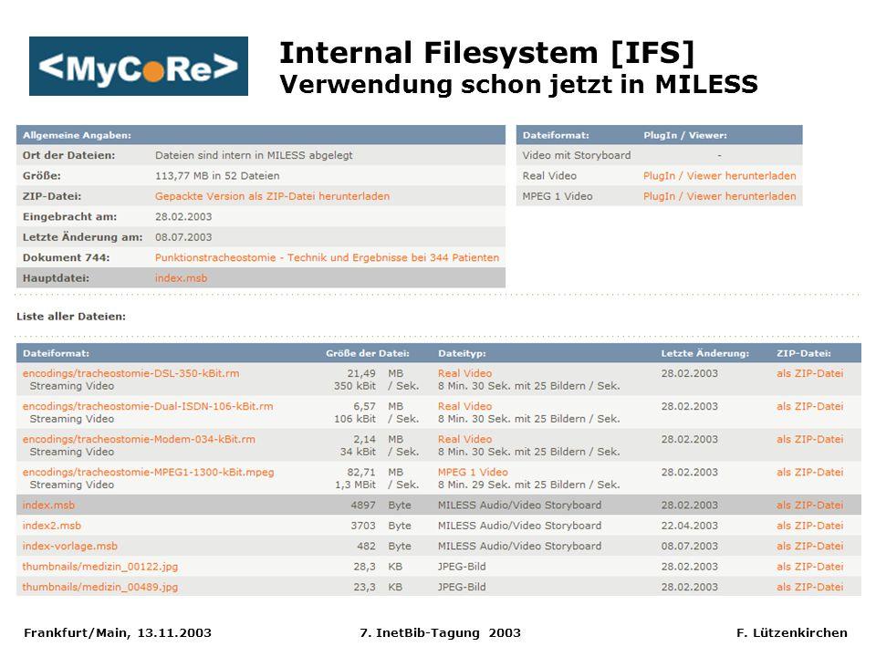 Frankfurt/Main, 13.11.2003 7. InetBib-Tagung 2003 F. Lützenkirchen Internal Filesystem [IFS] Verwendung schon jetzt in MILESS