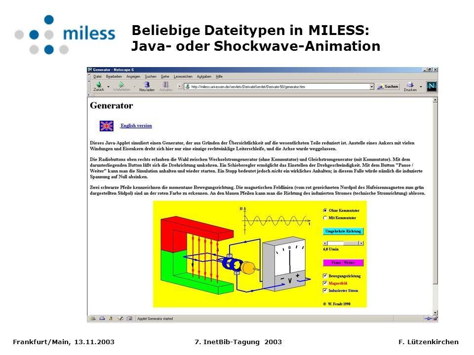 Frankfurt/Main, 13.11.2003 7. InetBib-Tagung 2003 F. Lützenkirchen Beliebige Dateitypen in MILESS: Java- oder Shockwave-Animation