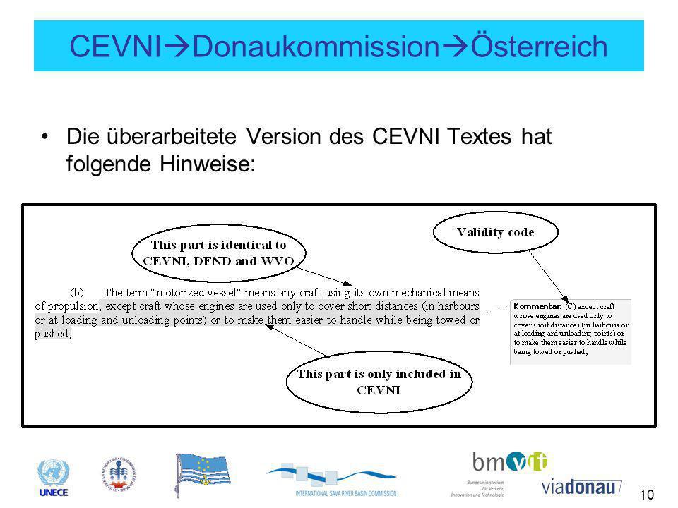 10 CEVNI  Donaukommission  Österreich Die überarbeitete Version des CEVNI Textes hat folgende Hinweise: