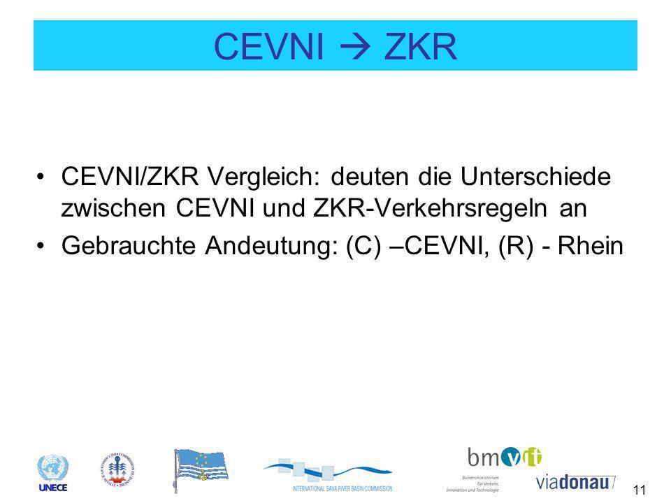 11 CEVNI  ZKR CEVNI/ZKR Vergleich: deuten die Unterschiede zwischen CEVNI und ZKR-Verkehrsregeln an Gebrauchte Andeutung: (C) –CEVNI, (R) - Rhein