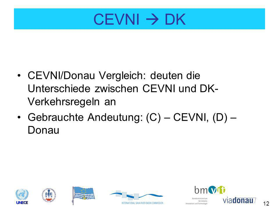 12 CEVNI  DK CEVNI/Donau Vergleich: deuten die Unterschiede zwischen CEVNI und DK- Verkehrsregeln an Gebrauchte Andeutung: (C) – CEVNI, (D) – Donau