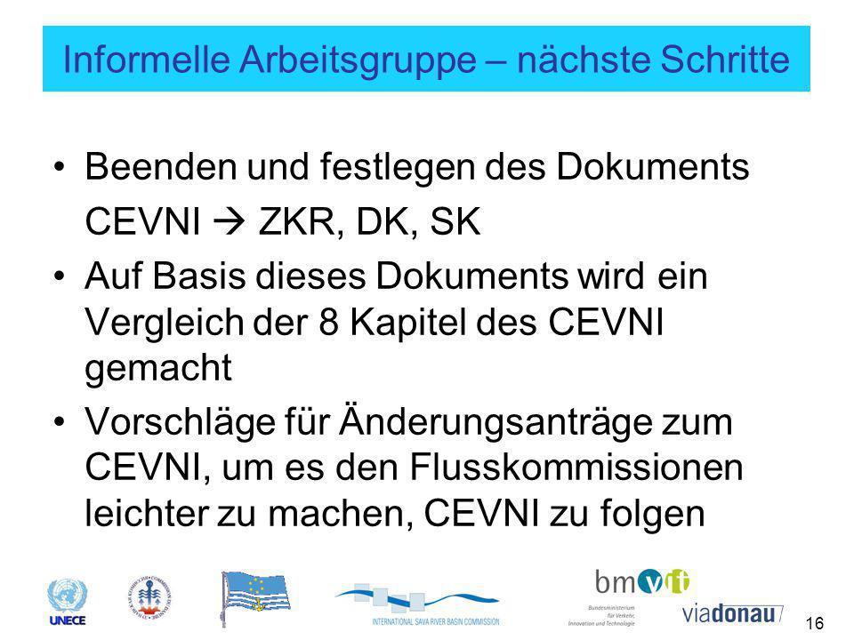 16 Informelle Arbeitsgruppe – nächste Schritte Beenden und festlegen des Dokuments CEVNI  ZKR, DK, SK Auf Basis dieses Dokuments wird ein Vergleich der 8 Kapitel des CEVNI gemacht Vorschläge für Änderungsanträge zum CEVNI, um es den Flusskommissionen leichter zu machen, CEVNI zu folgen