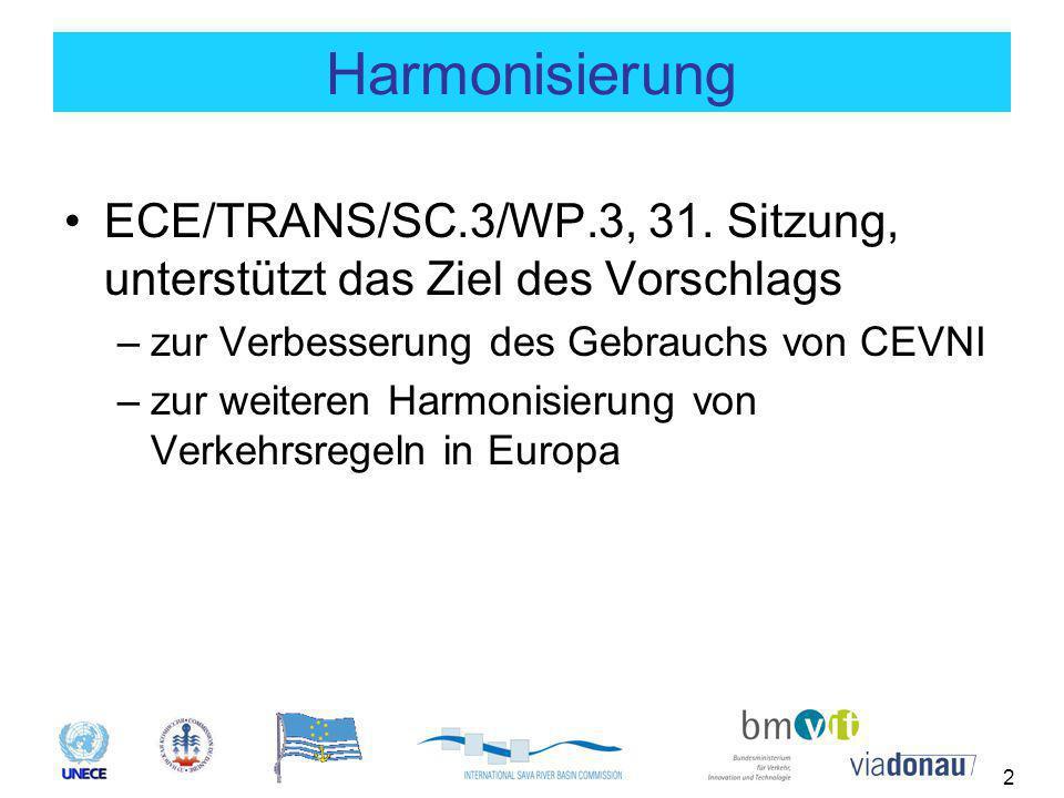 2 Harmonisierung ECE/TRANS/SC.3/WP.3, 31. Sitzung, unterstützt das Ziel des Vorschlags –zur Verbesserung des Gebrauchs von CEVNI –zur weiteren Harmoni