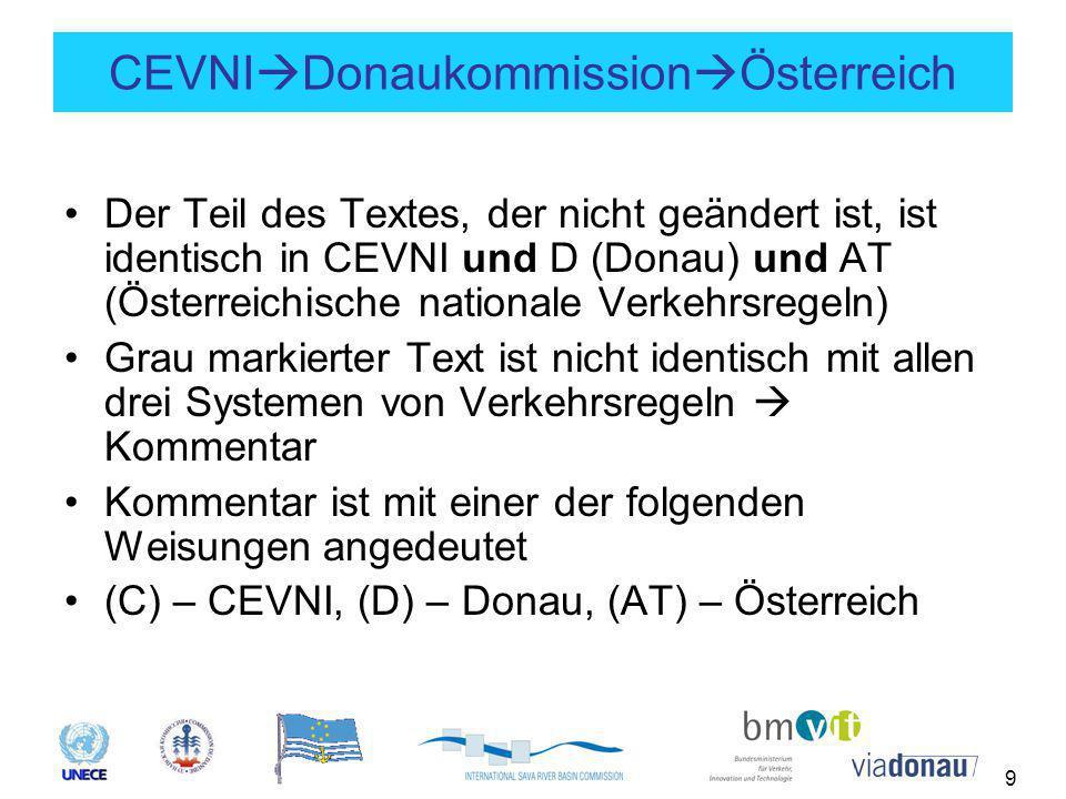 9 CEVNI  Donaukommission  Österreich Der Teil des Textes, der nicht geändert ist, ist identisch in CEVNI und D (Donau) und AT (Österreichische nationale Verkehrsregeln) Grau markierter Text ist nicht identisch mit allen drei Systemen von Verkehrsregeln  Kommentar Kommentar ist mit einer der folgenden Weisungen angedeutet (C) – CEVNI, (D) – Donau, (AT) – Österreich