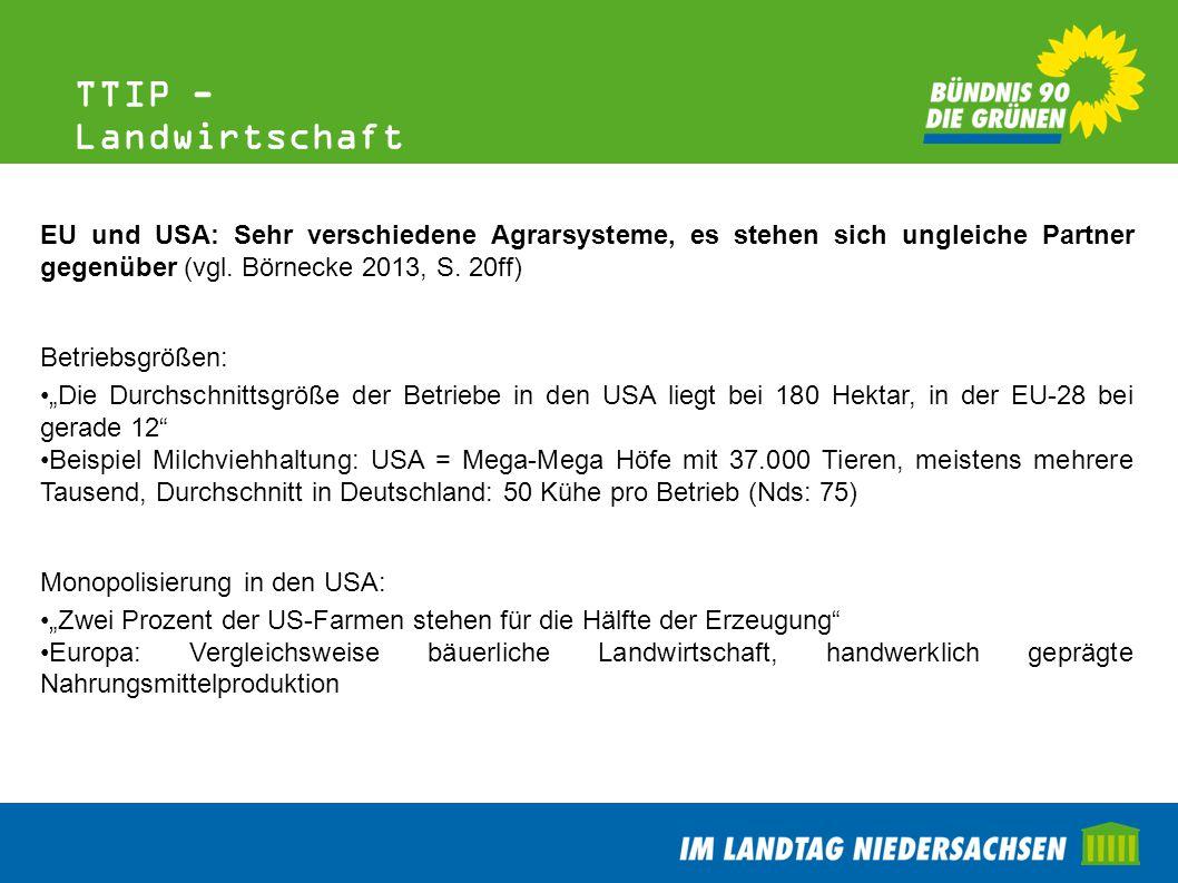 TTIP - Landwirtschaft EU und USA: Sehr verschiedene Agrarsysteme, es stehen sich ungleiche Partner gegenüber (vgl. Börnecke 2013, S. 20ff) Betriebsgrö