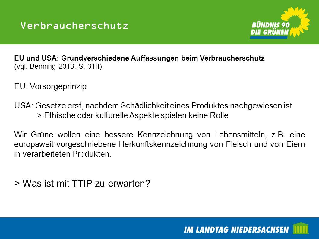 Verbraucherschutz EU und USA: Grundverschiedene Auffassungen beim Verbraucherschutz (vgl. Benning 2013, S. 31ff) EU: Vorsorgeprinzip USA: Gesetze erst