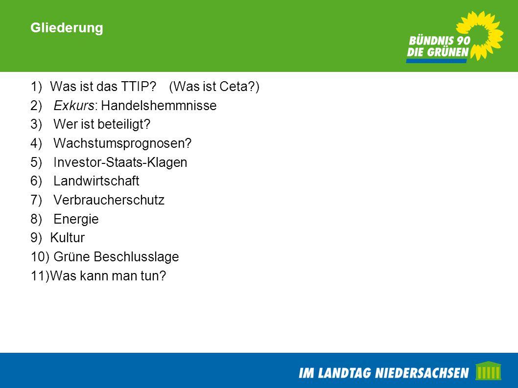 Gliederung 1)Was ist das TTIP?(Was ist Ceta?) 2) Exkurs: Handelshemmnisse 3) Wer ist beteiligt? 4) Wachstumsprognosen? 5) Investor-Staats-Klagen 6) La