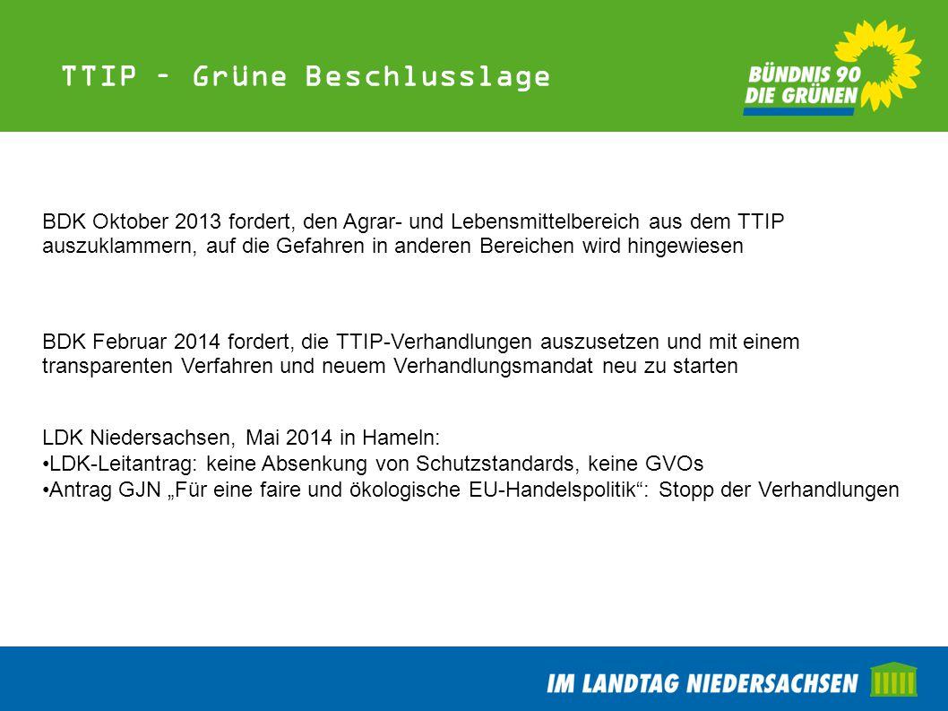 TTIP – Grüne Beschlusslage BDK Oktober 2013 fordert, den Agrar- und Lebensmittelbereich aus dem TTIP auszuklammern, auf die Gefahren in anderen Bereic